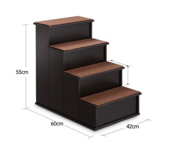 Dark Wooden 4 Step Dog Stairs - The Dog Ramp Co.