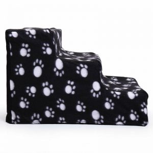 Plush Mini Staircase (Black with Paws) - The Dog Ramp Co.