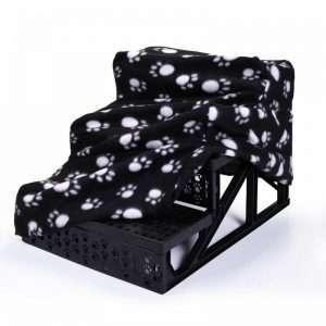Plush Mini Staircase (Black with Paws) - The Dog Ramp Co.