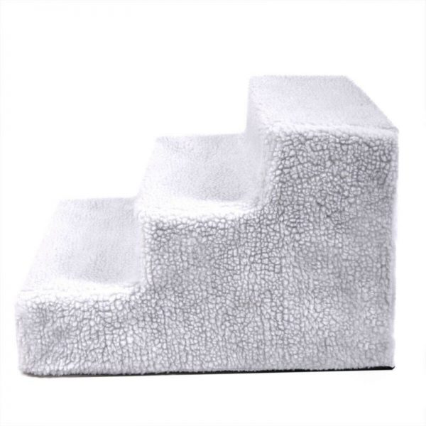 Plush Mini Staircase (White) - The Dog Ramp Co.