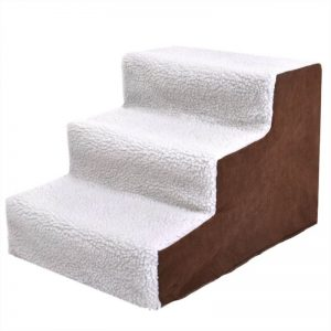Plush Mini Staircase (White/Tan) - The Dog Ramp Co.