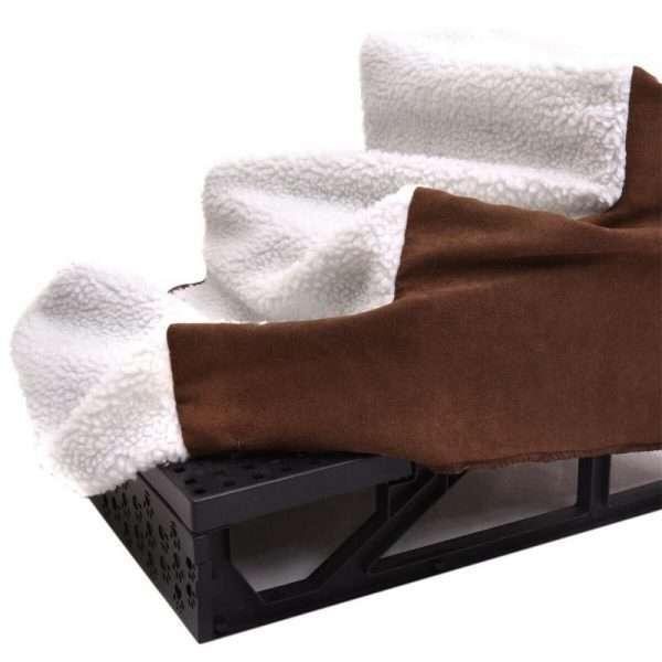 Plush Mini Staircase (White/Tan) - The Dog Ramp Co.