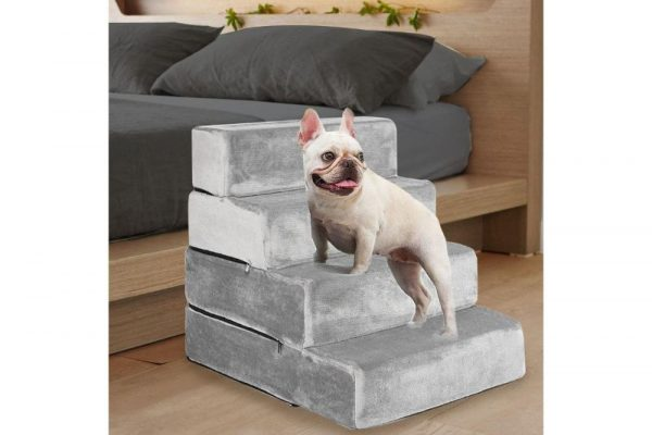 PaWz Height Adjustable Soft Dog Steps (4 Steps) - Light Charcoal - The Dog Ramp Co. Australia