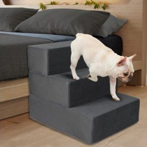 PaWz Height Adjustable Soft Dog Steps (3 Steps) - Dark Charcoal - The Dog Ramp Co. Australia