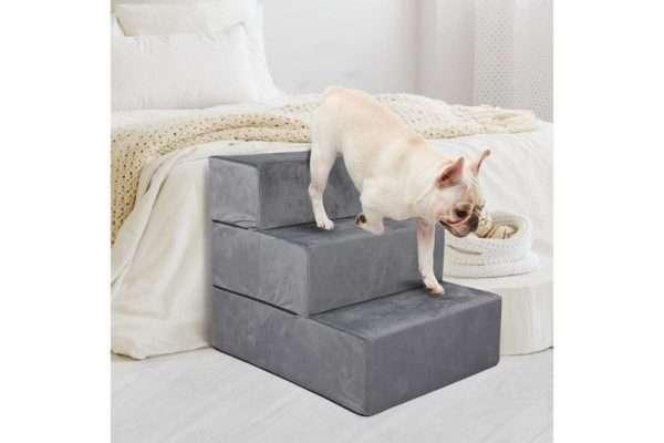 PaWz Height Adjustable Soft Dog Steps (3 Steps) - Light Charcoal - The Dog Ramp Co. Australia