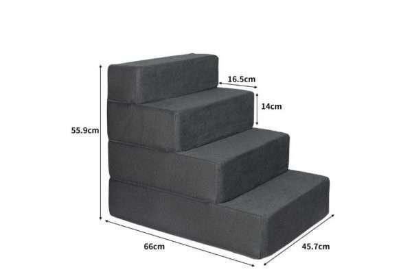 PaWz Height Adjustable Soft Dog Steps (4 Steps) - Dark Charcoal - The Dog Ramp Co. Australia